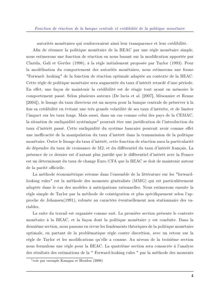 Fonction de réaction de la banque centrale et crédibilité de la politique monétaire          autorités monétaires qui renf...