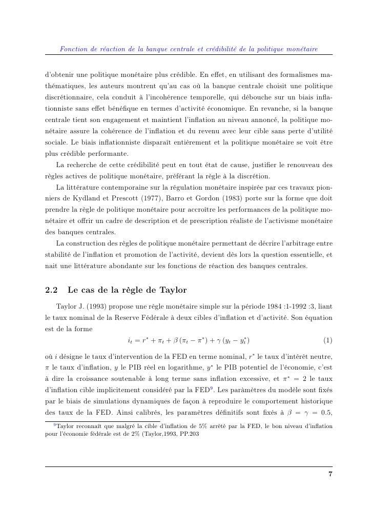 Fonction de réaction de la banque centrale et crédibilité de la politique monétaire   d'obtenir une politique monétaire pl...