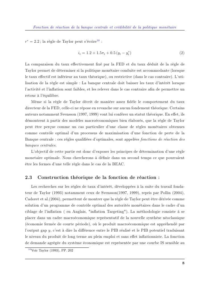 Fonction de réaction de la banque centrale et crédibilité de la politique monétaire   r∗ = 2.2 ; la règle de Taylor peut s...