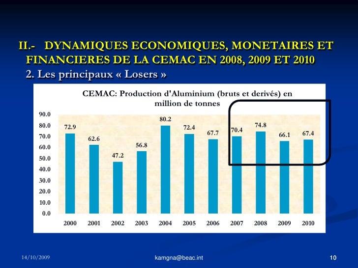 9<br />kamgna@beac.int<br />II.- DYNAMIQUES ECONOMIQUES, MONETAIRES ET FINANCIERES DE LA CEMAC EN 2008, 2009 ET 2010 1. L...