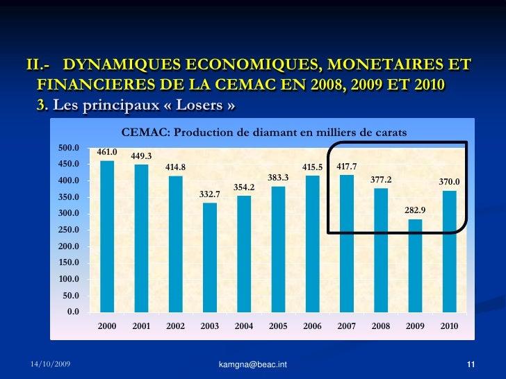 10<br />kamgna@beac.int<br />II.- DYNAMIQUES ECONOMIQUES, MONETAIRES ET FINANCIERES DE LA CEMAC EN 2008, 2009 ET 2010 2. ...