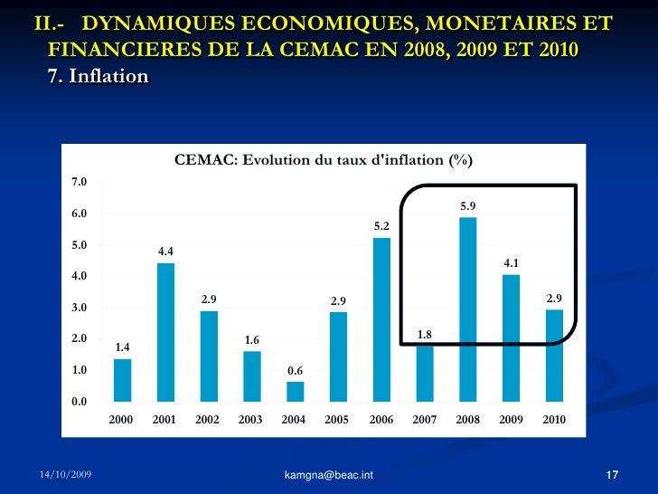 16<br />kamgna@beac.int<br />II.- DYNAMIQUES ECONOMIQUES, MONETAIRES ET FINANCIERES DE LA CEMAC EN 2008, 2009 ET 2010 6. ...