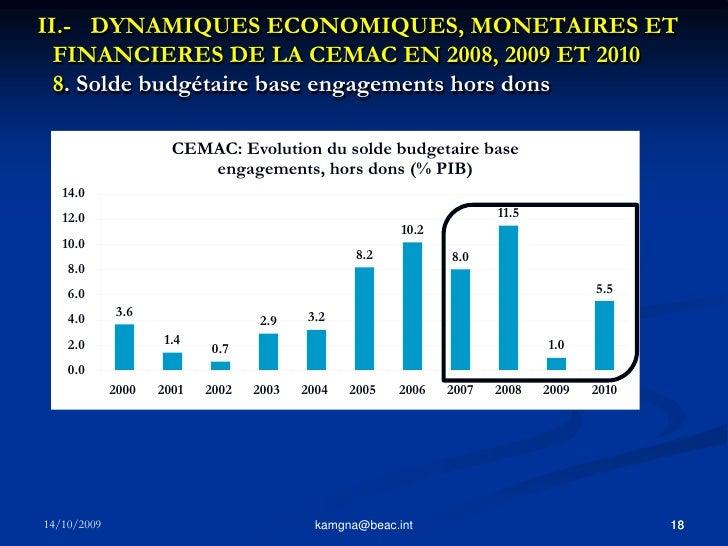 17<br />kamgna@beac.int<br />II.- DYNAMIQUES ECONOMIQUES, MONETAIRES ET FINANCIERES DE LA CEMAC EN 2008, 2009 ET 2010 7. ...