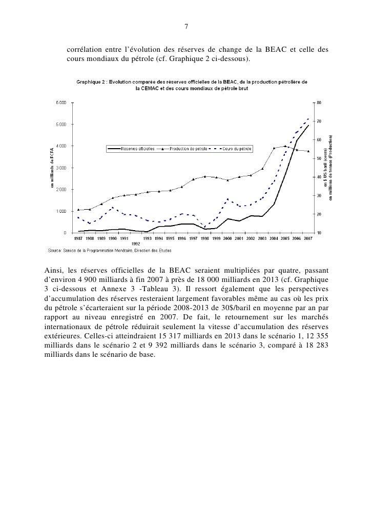 7         corrélation entre l'évolution des réserves de change de la BEAC et celle des       cours mondiaux du pétrole (cf...