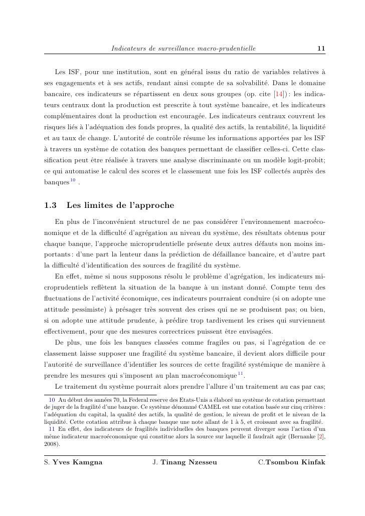 Indicateurs de surveillance macro-prudentielle                                 11       Les ISF, pour une institution, son...