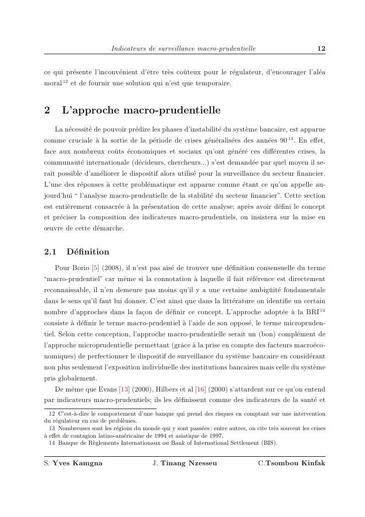 Indicateurs de surveillance macro-prudentielle                                 12   ce qui pr´sente l'inconv´nient d'ˆtre ...