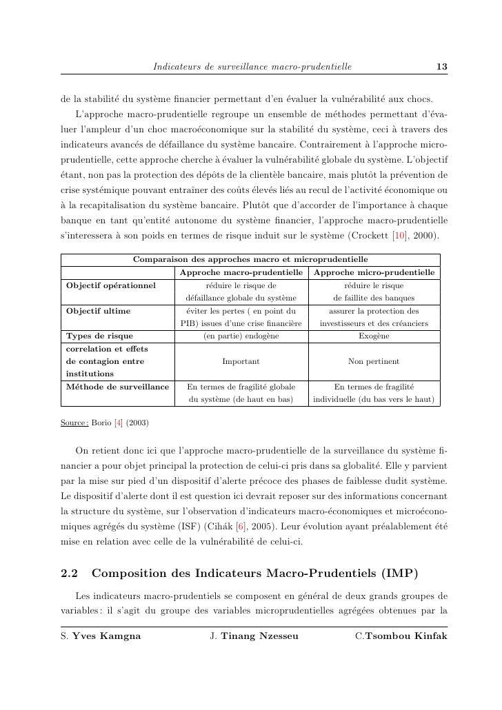 Indicateurs de surveillance macro-prudentielle                                 13   de la stabilit´ du syst`me financier pe...