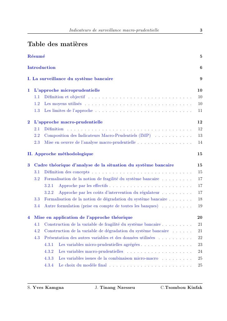 Indicateurs de surveillance macro-prudentielle                                 3   Table des mati`res               e R´su...