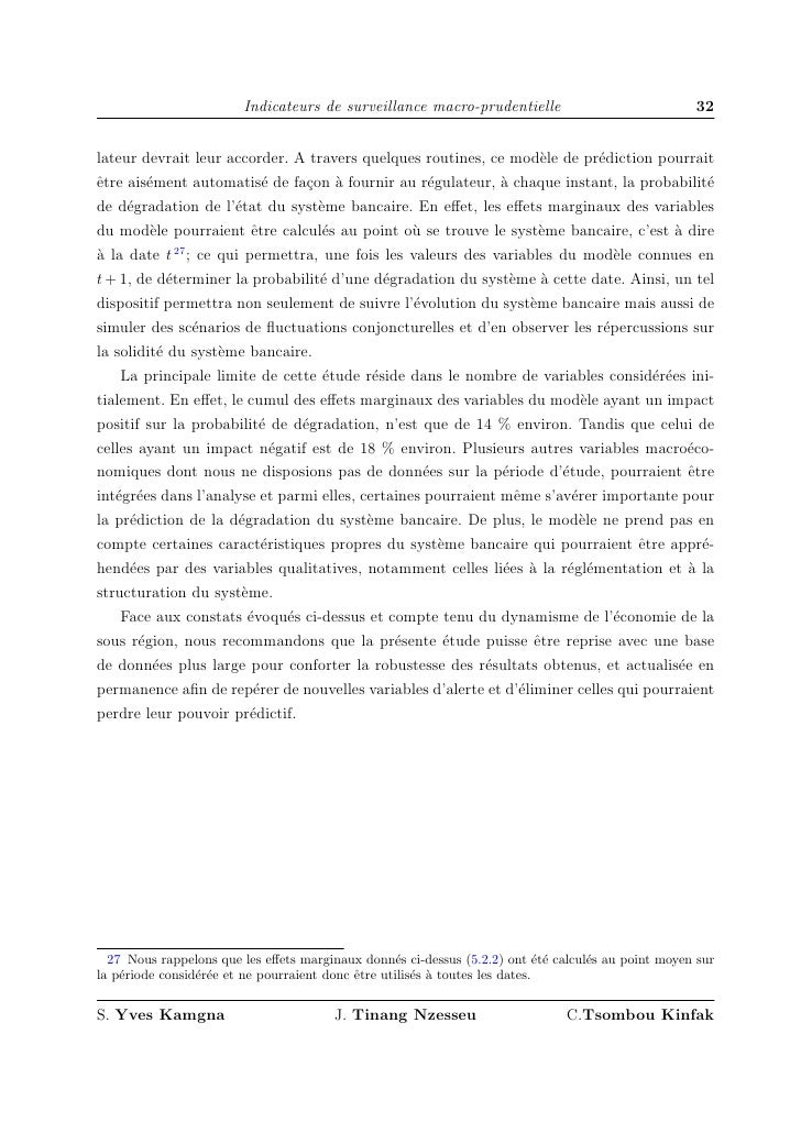 Kamgna, Tinang, Tsombou,  Article Sur La Surveillance Macroprudentielle