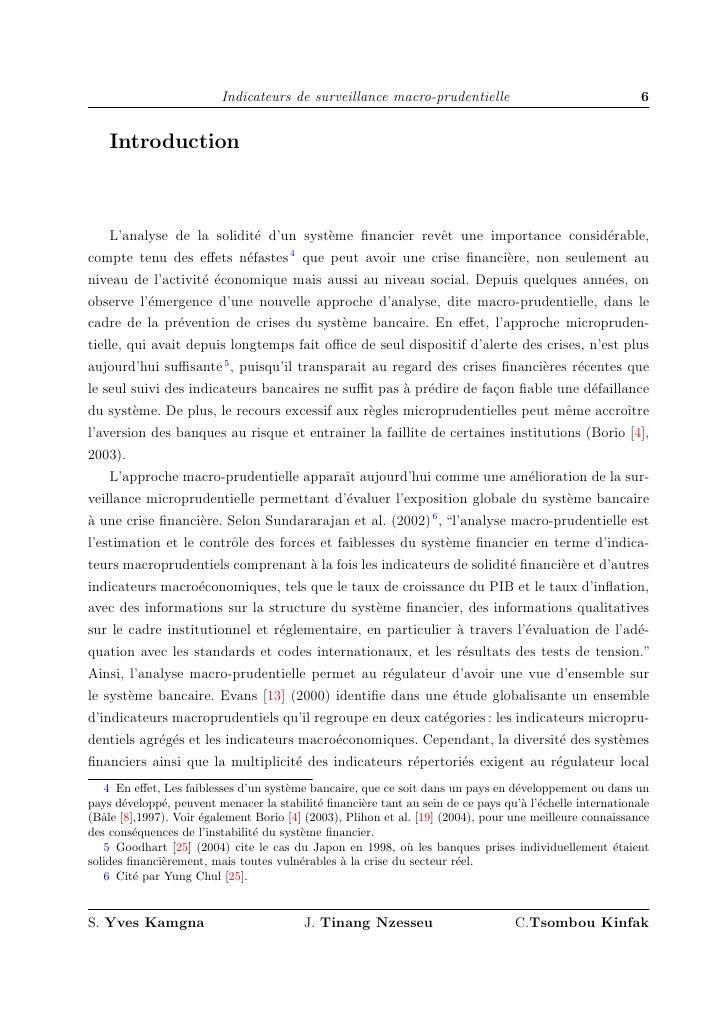 Indicateurs de surveillance macro-prudentielle                                   6       Introduction        L'analyse de ...