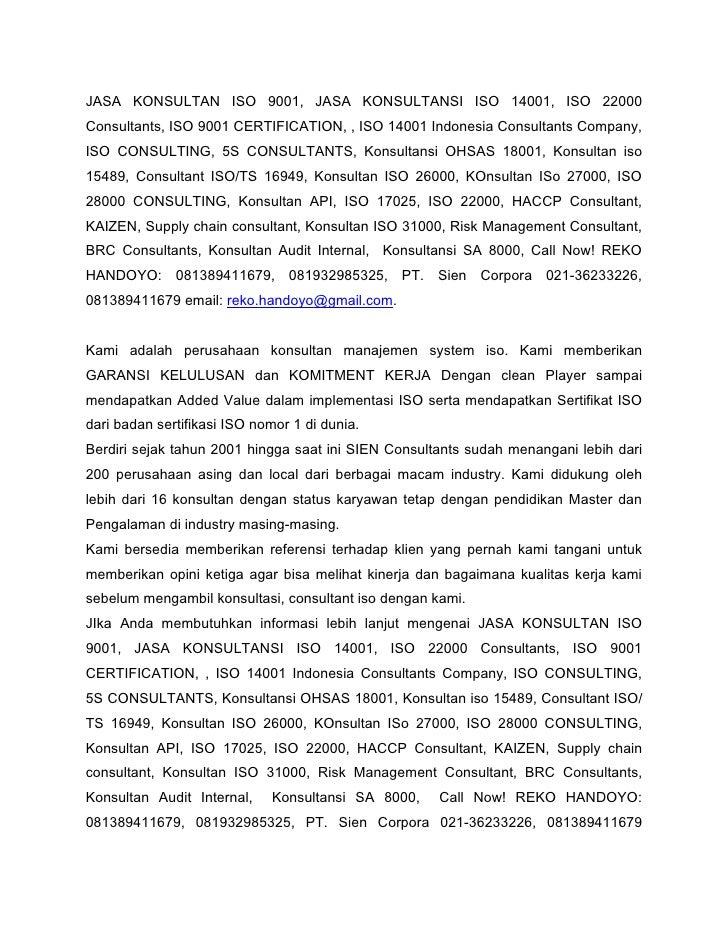 JASA KONSULTAN ISO 9001, JASA KONSULTANSI ISO 14001, ISO 22000 Consultants, ISO 9001 CERTIFICATION, , ISO 14001 Indonesia ...