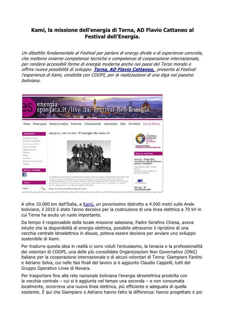 Kami, la missione dellenergia di Terna, AD Flavio Cattaneo al                         Festival dell'Energia.Un dibattito f...