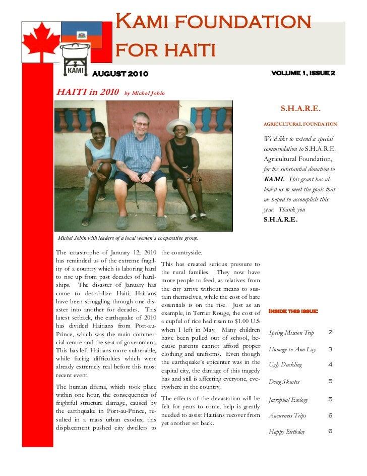 Kami foundation                         for haiti               AUGUST 2010                                               ...
