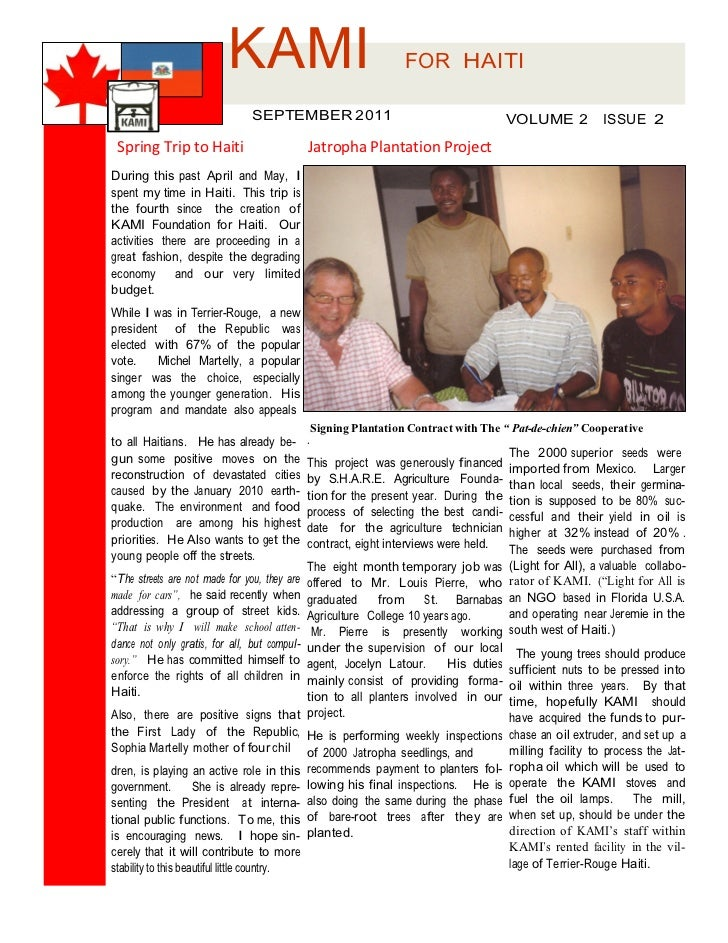 KAMI                                      FOR HAITI                                SEPTEMBER 2011                         ...