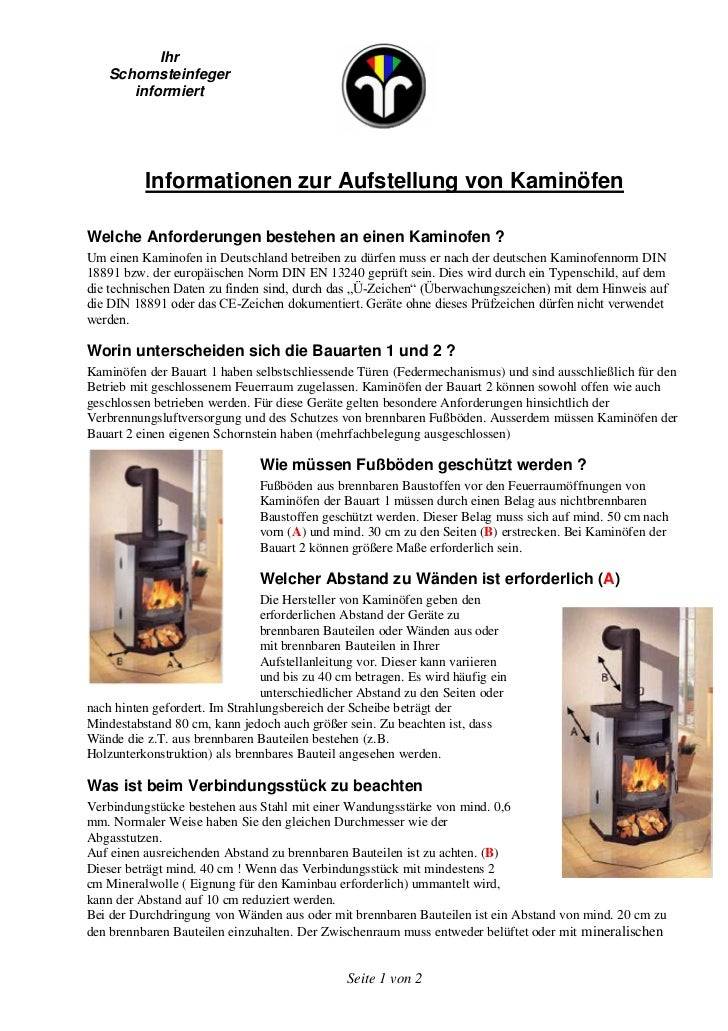 Kaminofen. Ihr Schornsteinfeger Informiert Informationen Zur Aufstellung  Von KaminöfenWelche Anforderungen ...
