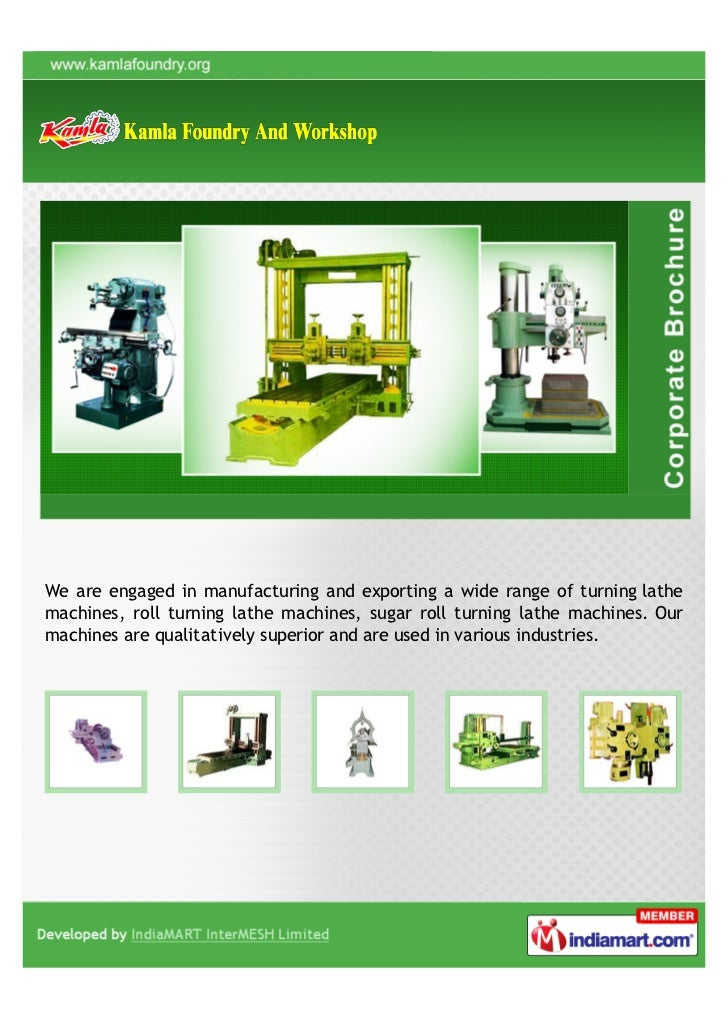 We are engaged in manufacturing and exporting a wide range of turning lathemachines, roll turning lathe machines, sugar ro...