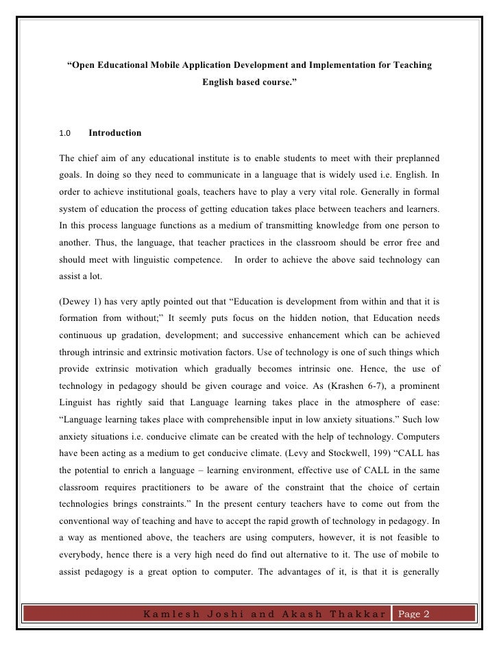 Kamlesh Akash Research Paper On Open Educational App  Essay Paper Project Management Essays Kamlesh Akash Research Paper On Open Educational App  Computer Science Essay Topics also Example Of A Report Essay