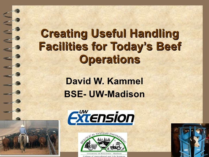Creating Useful Handling Facilities for Today's Beef Operations David W. Kammel BSE- UW-Madison