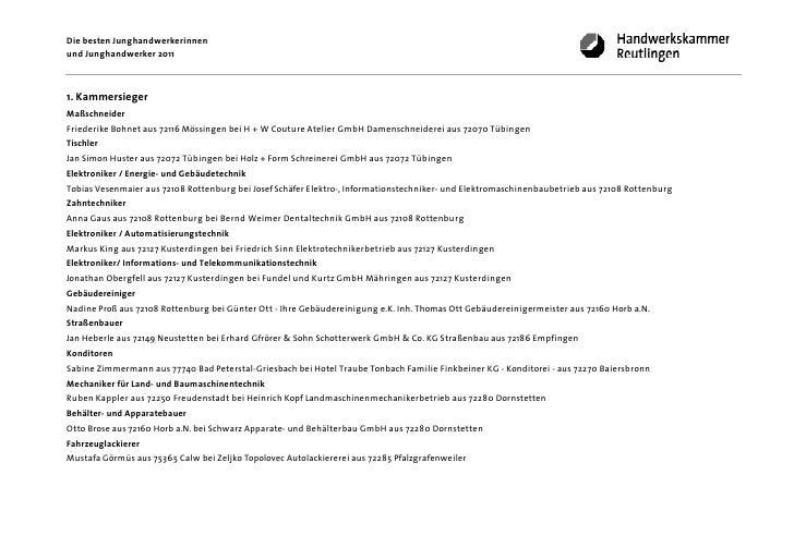 Die besten Junghandwerkerinnenund Junghandwerker 20111. KammersiegerMaßschneiderFriederike Bohnet aus 72116 Mössingen bei ...