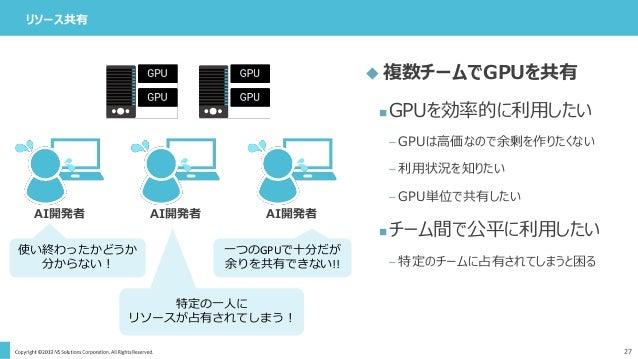 リソース共有 27  複数チームでGPUを共有 GPUを効率的に利用したい – GPUは高価なので余剰を作りたくない – 利用状況を知りたい – GPU単位で共有したい チーム間で公平に利用したい – 特定のチームに占有されてしまうと困る...