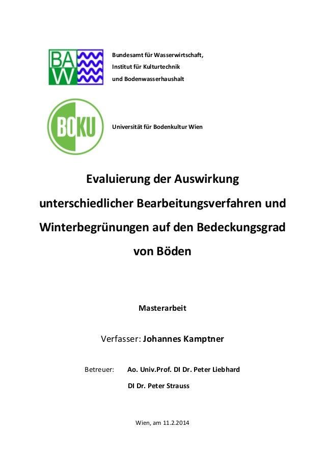 Bundesamt für Wasserwirtschaft, Institut für Kulturtechnik und Bodenwasserhaushalt Universität für Bodenkultur Wien Evalui...