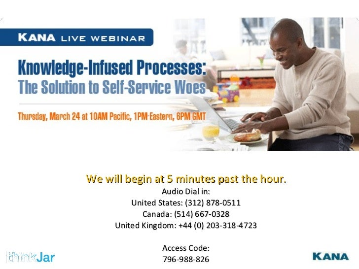 We will begin at 5 minutes past the hour. Audio Dial in: United States: (312) 878-0511 Canada: (514) 667-0328 United Kingd...