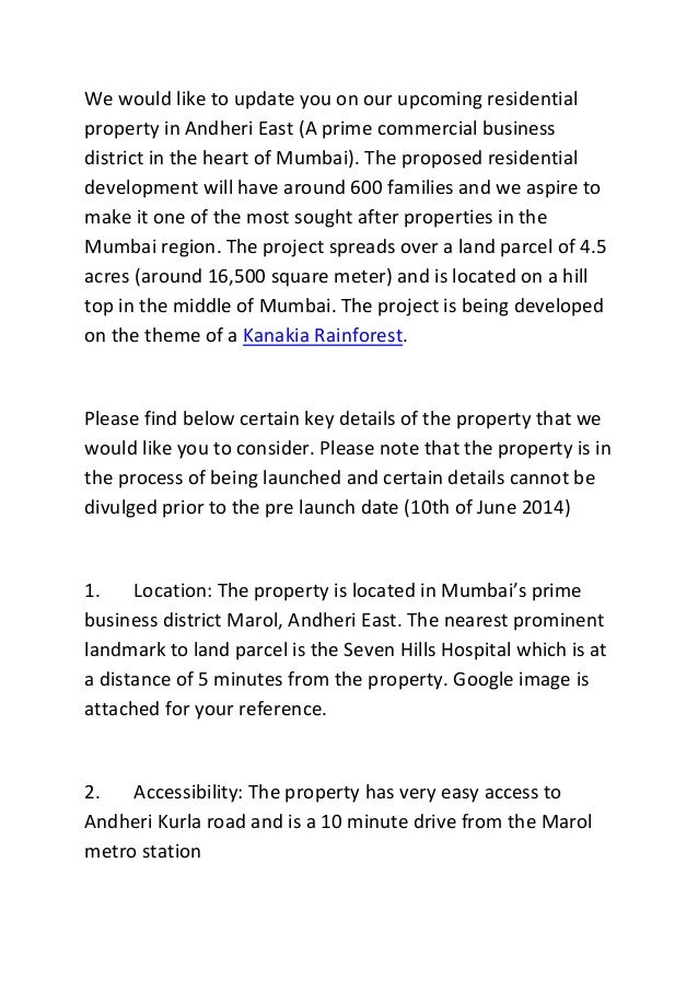 We would like to update you on our upcoming residential property in Andheri East (A prime commercial business district in ...