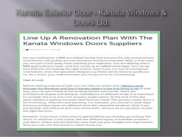 Kanata Exterior Door — Kanata V/ indovvs & Doors Lid.   Line Up A Renovation Plan With The Kanata Vvindows Doors Suppliers...