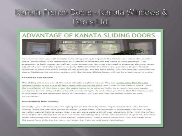 Kanata French Doors — Kanata Windovvs &  Doors Ltd.                                             ADVANTAGE OF KANATA SLIDIN...