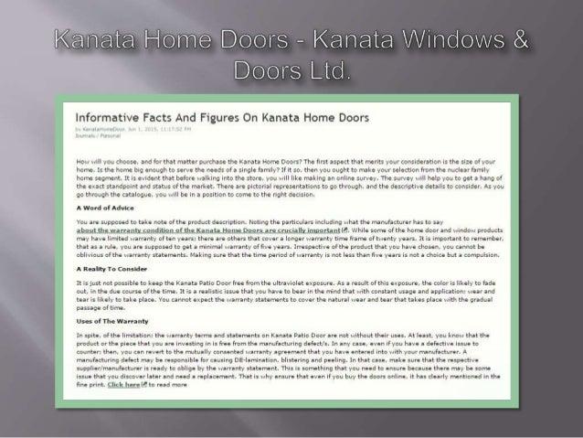 Kanata Home Doors — Kanata Windovvs & Doors Lid.   Informative Facts And Figures On Kanata Home Doors  . ,,.  ,i  How will...