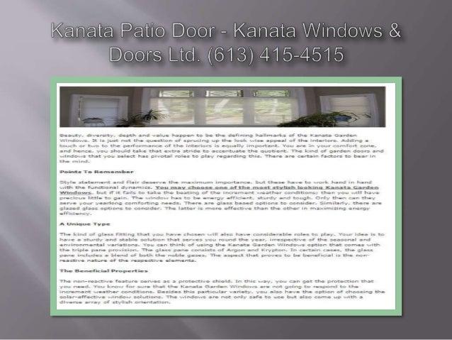Kanata Patio Door — Kanata / /indows &  Doors Lid.  (613) 415-4515  laaaur-, -, a vars -, -, depth and -. -alua happen to ...