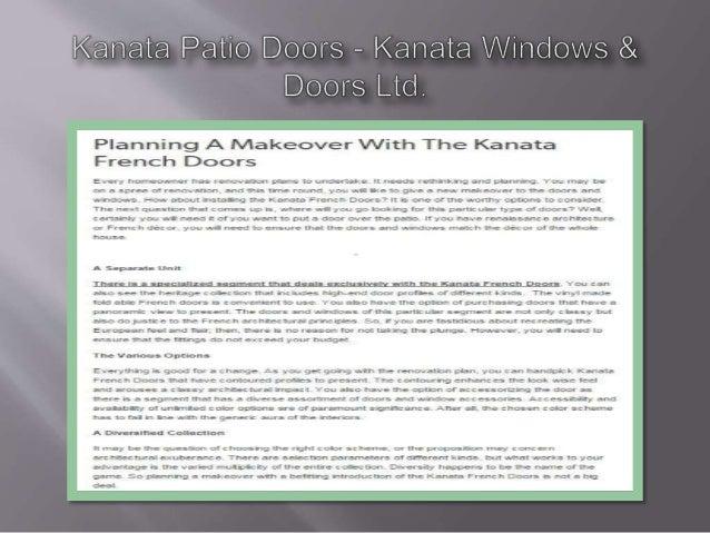Kanata Patio Doors — Kan to V / iiidows & Doors Lid.   Planning A I/ lakeover VVith The Kanata French Doors  Every horvseo...