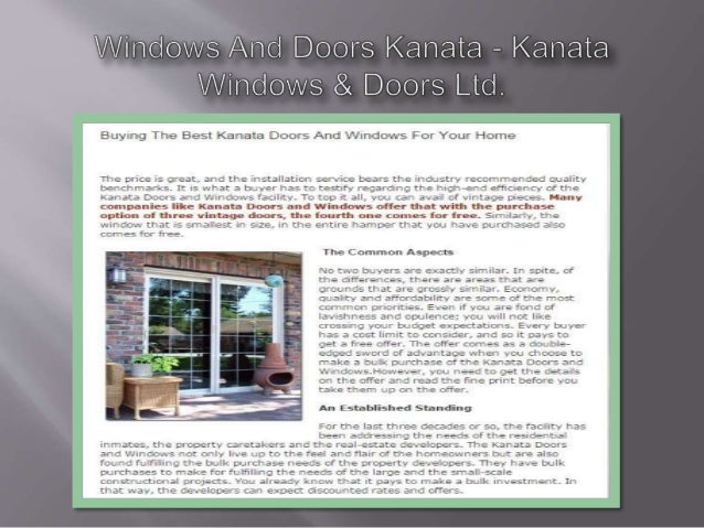Buying The Best Kanata Doors And Windows For Your Home  The price is great,  and the installation service bears the ll'. C...