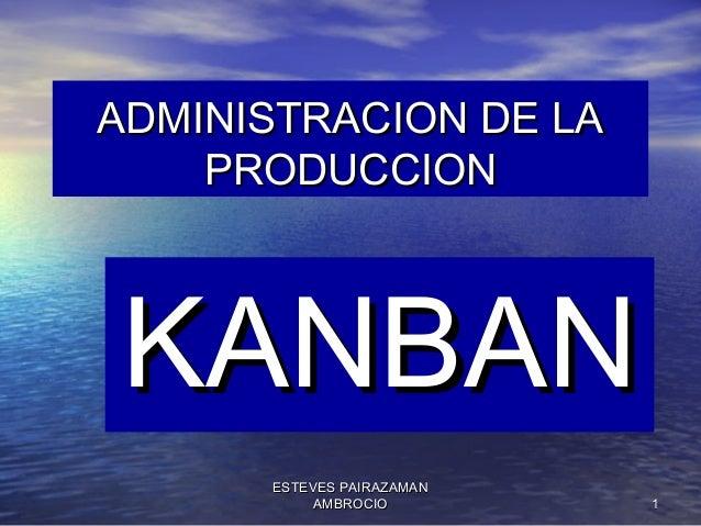ADMINISTRACION DE LA PRODUCCION  KANBAN ESTEVES PAIRAZAMAN AMBROCIO  1