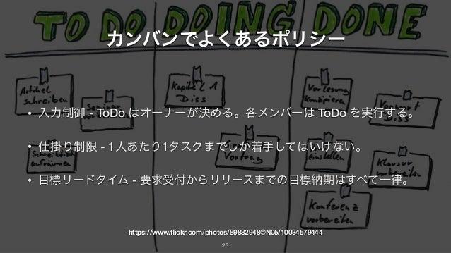 カンバンでよくあるポリシー • 入力制御 - ToDo はオーナーが決める。各メンバーは ToDo を実行する。 • 仕掛り制限 - 1人あたり1タスクまでしか着手してはいけない。 • 目標リードタイム - 要求受付からリリースまでの目標納期は...