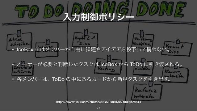 入力制御ポリシー • IceBox にはメンバーが自由に課題やアイデアを投下して構わない。 • オーナーが必要と判断したタスクは IceBox から ToDo に引き渡される。 • 各メンバーは、ToDo の中にあるカードから新規タスクを引き出...