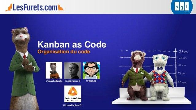 Kanban as Code Organisation du code @dbaeli@beastiefurets @LeanKanbanFr @geofberard