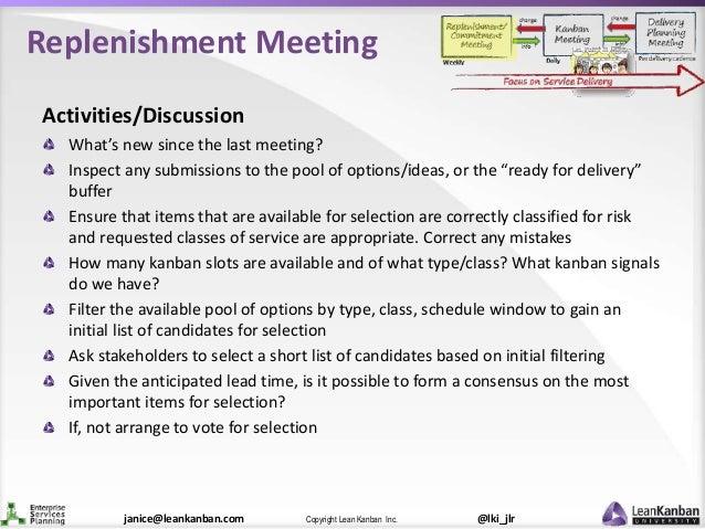 @lki_jlrCopyright Lean Kanban Inc.janice@leankanban.com Replenishment Meeting Activities/Discussion What's new since the l...