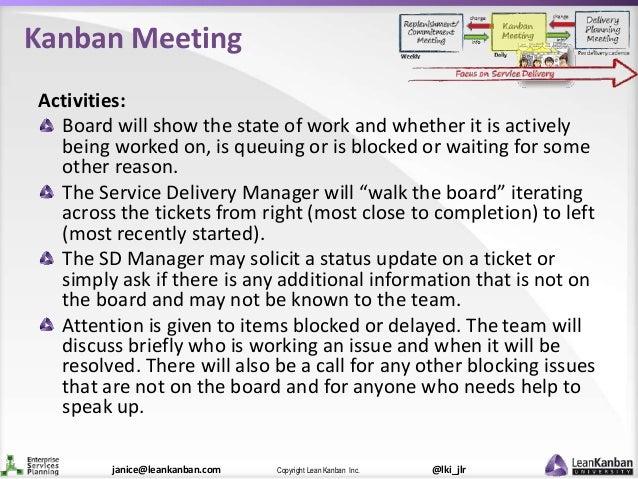 @lki_jlrCopyright Lean Kanban Inc.janice@leankanban.com Kanban Meeting Activities: Board will show the state of work and w...