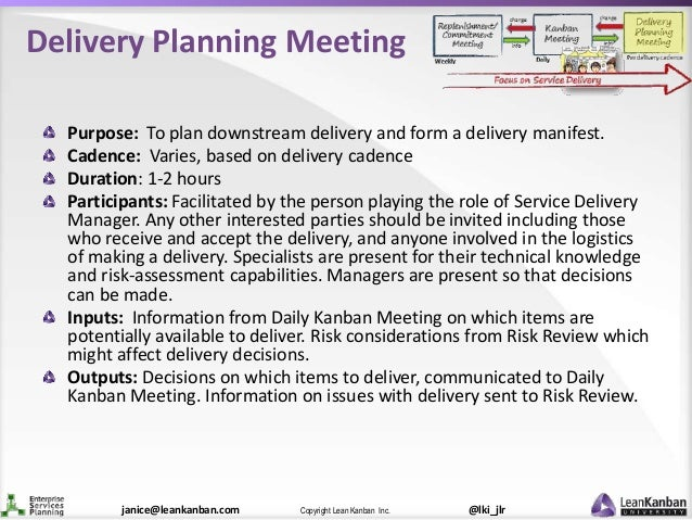 @lki_jlrCopyright Lean Kanban Inc.janice@leankanban.com Delivery Planning Meeting Purpose: To plan downstream delivery and...