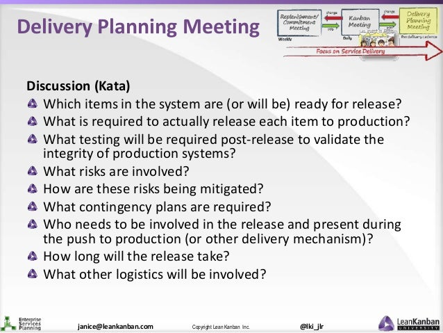 @lki_jlrCopyright Lean Kanban Inc.janice@leankanban.com Delivery Planning Meeting Discussion (Kata) Which items in the sys...