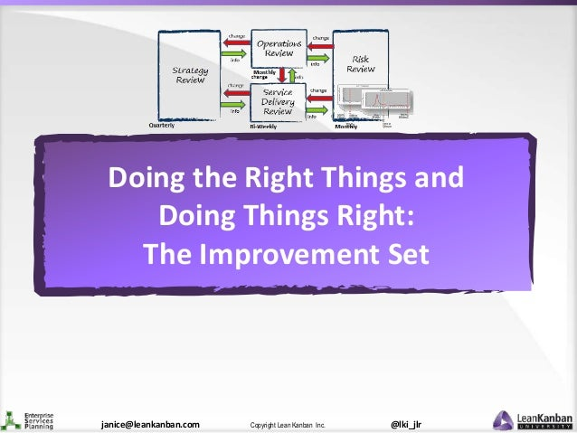 @lki_jlrCopyright Lean Kanban Inc.janice@leankanban.com Doing the Right Things and Doing Things Right: The Improvement Set