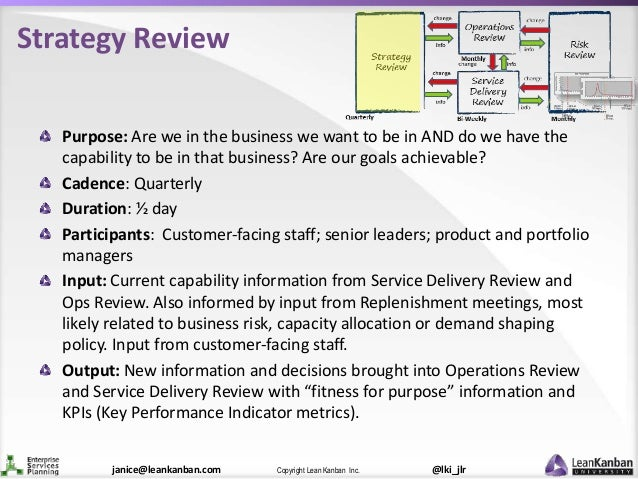 @lki_jlrCopyright Lean Kanban Inc.janice@leankanban.com Strategy Review Purpose: Are we in the business we want to be in A...