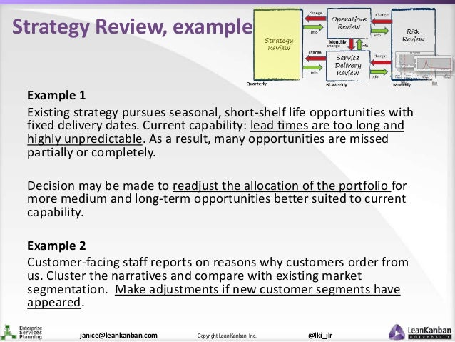 @lki_jlrCopyright Lean Kanban Inc.janice@leankanban.com Strategy Review, example Example 1 Existing strategy pursues seaso...