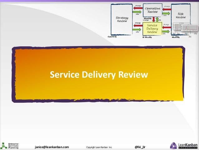 @lki_jlrCopyright Lean Kanban Inc.janice@leankanban.com Service Delivery Review