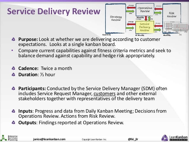 @lki_jlrCopyright Lean Kanban Inc.janice@leankanban.com Service Delivery Review Purpose: Look at whether we are delivering...