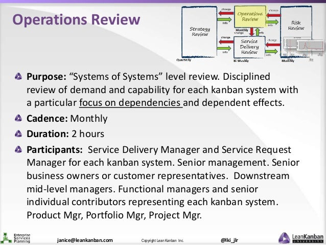 """@lki_jlrCopyright Lean Kanban Inc.janice@leankanban.com Operations Review Purpose: """"Systems of Systems"""" level review. Disc..."""