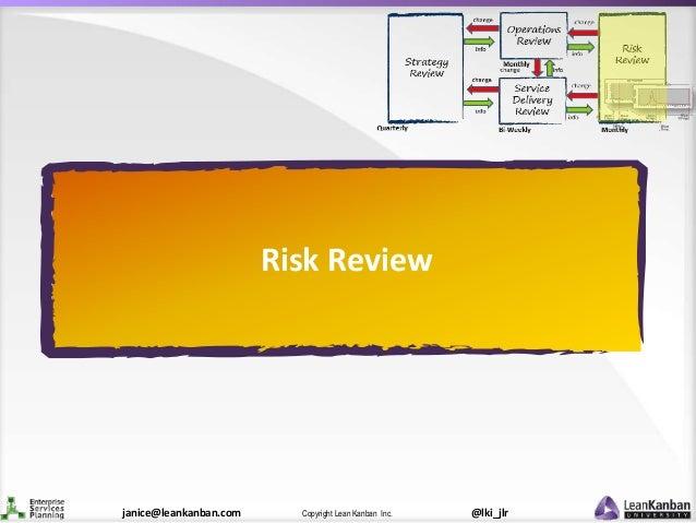 @lki_jlrCopyright Lean Kanban Inc.janice@leankanban.com Risk Review