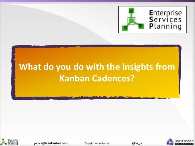 @lki_jlrCopyright Lean Kanban Inc.janice@leankanban.com What do you do with the insights from Kanban Cadences?