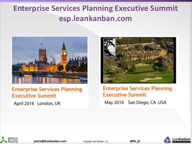@lki_jlrCopyright Lean Kanban Inc.janice@leankanban.com Enterprise Services Planning Executive Summit esp.leankanban.com
